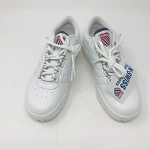 K-Swiss Leather Tennis Shoes Round Toe